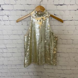 NWT WHITE HOUSE BLACK MARKET gold sequin top
